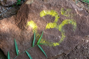 Om Sign Painted on Trail Rock